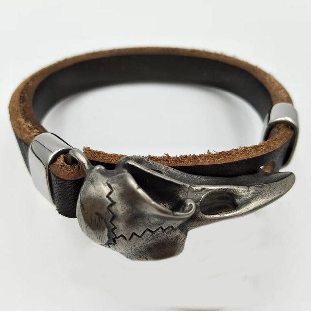 Bracelet tête de mort corbeau Viking 3
