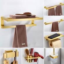 YUJIE bathroom hardware accessories set Nordic brushed golden towel rack space aluminum towel rack with hook rack YJMHY-3002