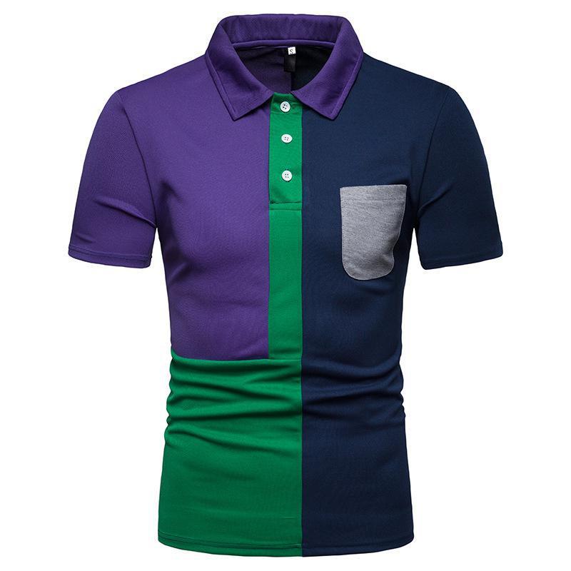 Pocket Front Plus Size Men Classic Casual Fashion   Polo   Short Sleeve Blouse Color Block Summer Men Clothing 2019 Fashion US Size