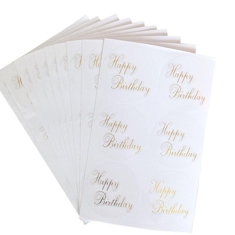 60 stücke Transparent Runde Stanzen Glücklich Geburtstag Dichtung aufkleber Für handgemachte produkte Dekorative aufkleber label
