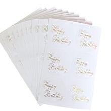 Autocollant rond Transparent d'estampage d'anniversaire, étiquette décorative, pour produits faits à la main, étiquette, 60 pièces
