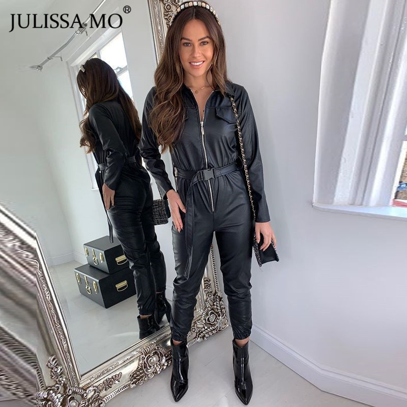 JULISSA MO PU Leather Sexy Jumpsuit Women Turn-Down Collar Zipper Bodycon Jumpsuits Rompers 2019 Black Belts Halloween Overalls