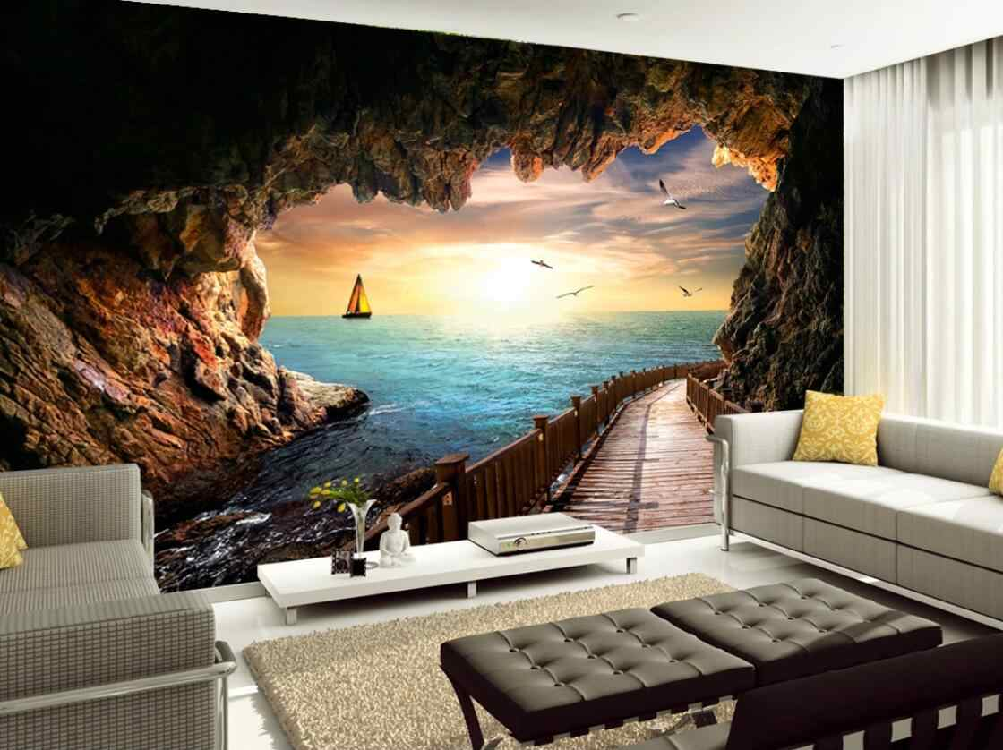 Canvas Wall Mural Sunset Seascape From Cave Long Gallery Photo Wall Paper HD Print 3D Wallpaper for Walls Custom
