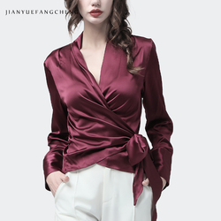 100% Silk Blouse Women Tops Wine Red V-Neck Long Sleeve Blouses Crossed Lace-Up Fashion Elegant Slim Female Party Shirt