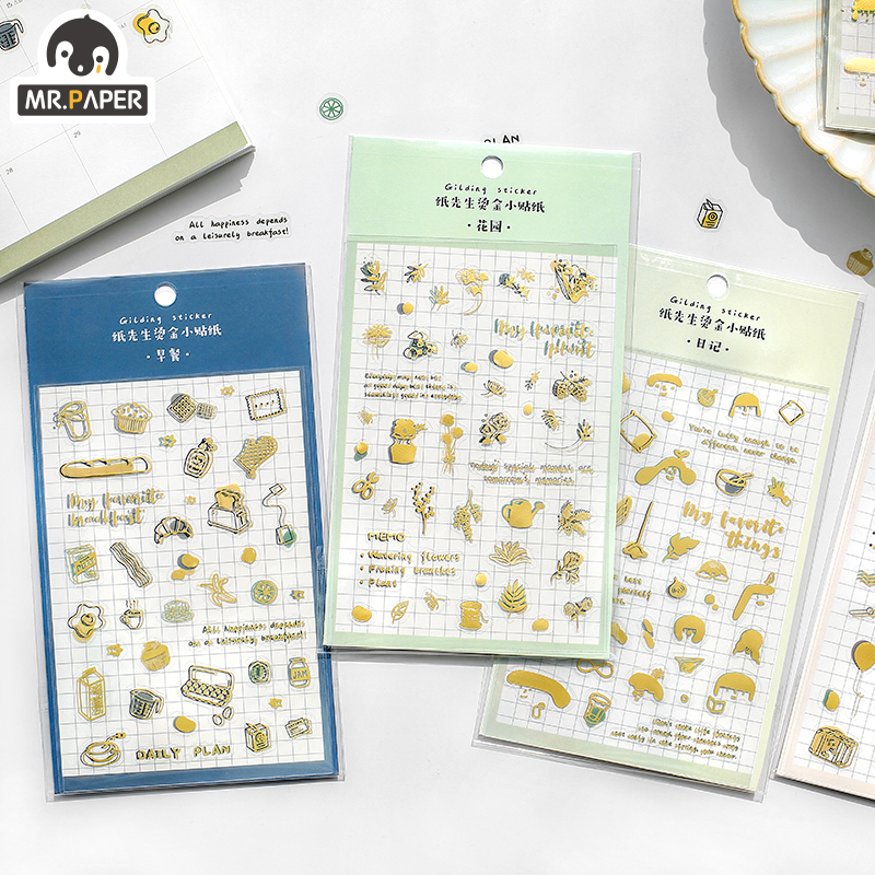 Mr.Paper 4 Designs Small Bread Garden Diary To Do List Gilding Decorative PET Sticker Scrapbooking Sticky Label Diary Stationery
