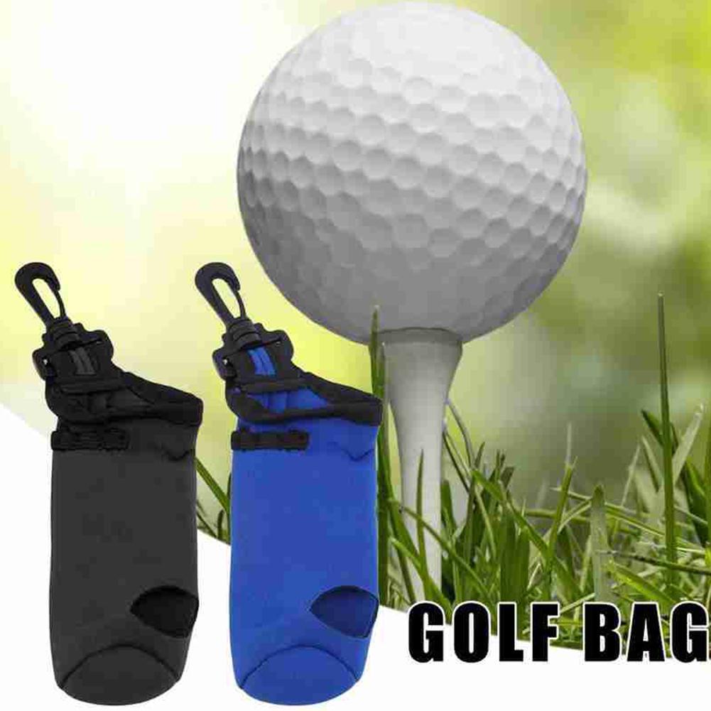 Portable Small Golf Ball Bag Golf Tees Holder Carrying Waist Belt Neoprene Storage Swivel Pouch Clip Case With D3D7