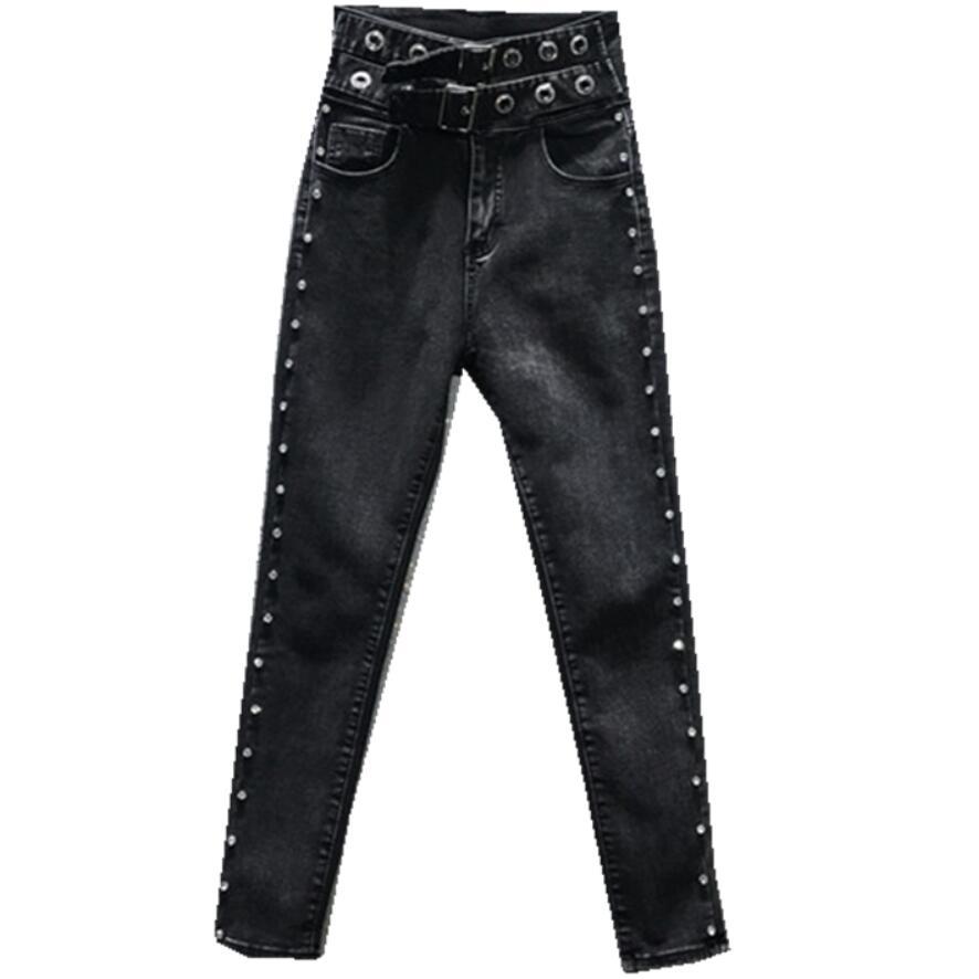 Autumn Winter New Fashion  Heavy Work Beaded Diamond Jeans Women High Waist Skinny Pencil Jeans