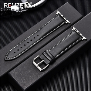 REMZEIM Cowhide Leather Strap for Apple Watch Band 44mm 40mm iwatch 5 4 3 2 1 Wristband 42mm 38mm bracelet Watch Accessories