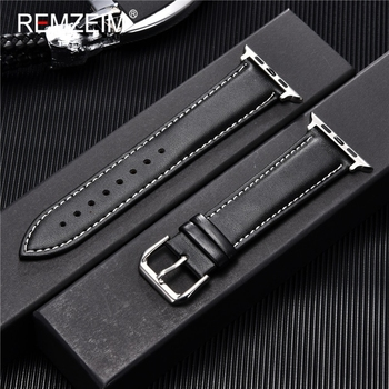 REMZEIM Cowhide Leather Strap for Apple Watch Band 44mm 40mm iwatch 6 5 4 3 2 1 Wristband 42mm 38mm bracelet Accessories - discount item  50% OFF Watches Accessories