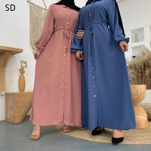 Buttoned Solid Color Opened Abaya Dresses Peignoir Fashion Dubai Islamic Abayas Clothing