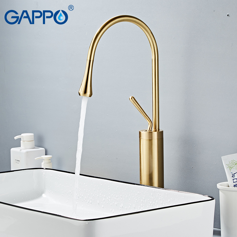GAPPO New Basin Faucet Modern Brass Mixer Tap Bathroom Basin Water Sink Mixer Gold Brush Tall Taps Torneira