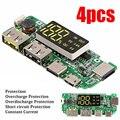 4 шт.  многофункциональная литиевая зарядная плата 186 50 с защитой  два USB 5 в 2 4 А  мобильный внешний аккумулятор  зарядное устройство  PCB  светод...