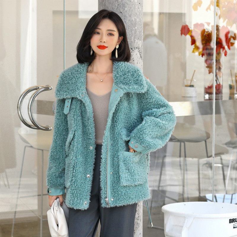 Real Fur Coat Female Autumn Winter Jacket Women Clothes 2019 Korean Sheep Shearing Coats Vintage 100% Wool Fur Tops Hiver 1924