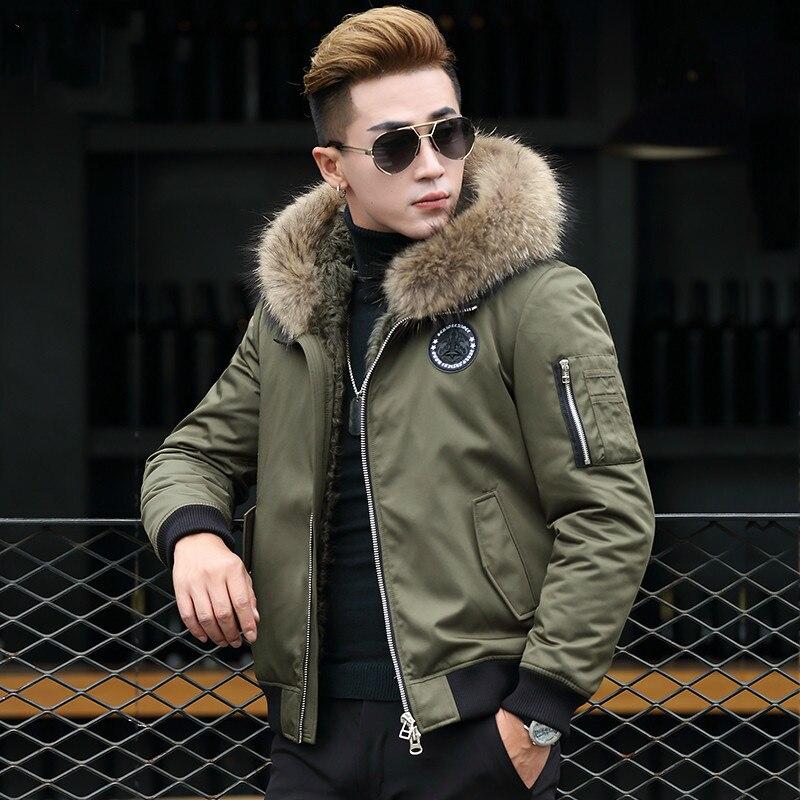 Real Fur Coat Parka Men Rabbit Fur Liner Men's Winter Jacket Korean Raccoon Fur Collar Plus Size Parkas T-89-2303 KJ1539