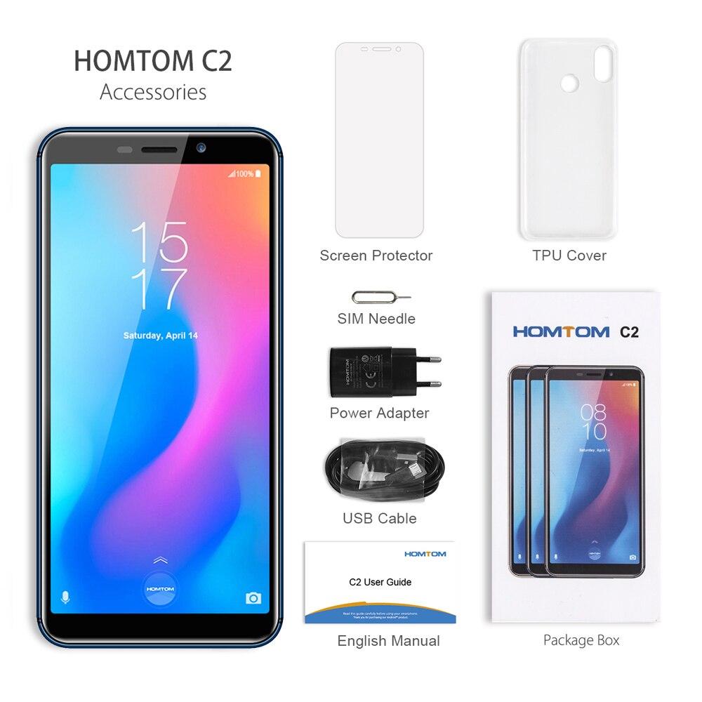 Version mondiale HOMTOM C2 Android 8.1 2GB + 16GB téléphone portable Face ID MTK6739 Quad Core 13MP double caméra OTA 4G FDD LTE Smartphone - 6