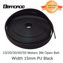Bemonoc 10/20/30/40/50 Meters Timing Belt PU HTD 3M 15mm PU with Steel Core Timing Belt HTD 3M Belt Black For CNC Accessories
