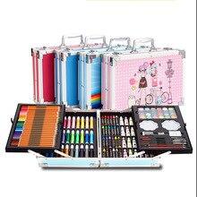 Watercolor Pens Set 145-Piece Double-Layer Aluminum Alloy Children's Painting Kit Graffiti Art Supplies Graffiti