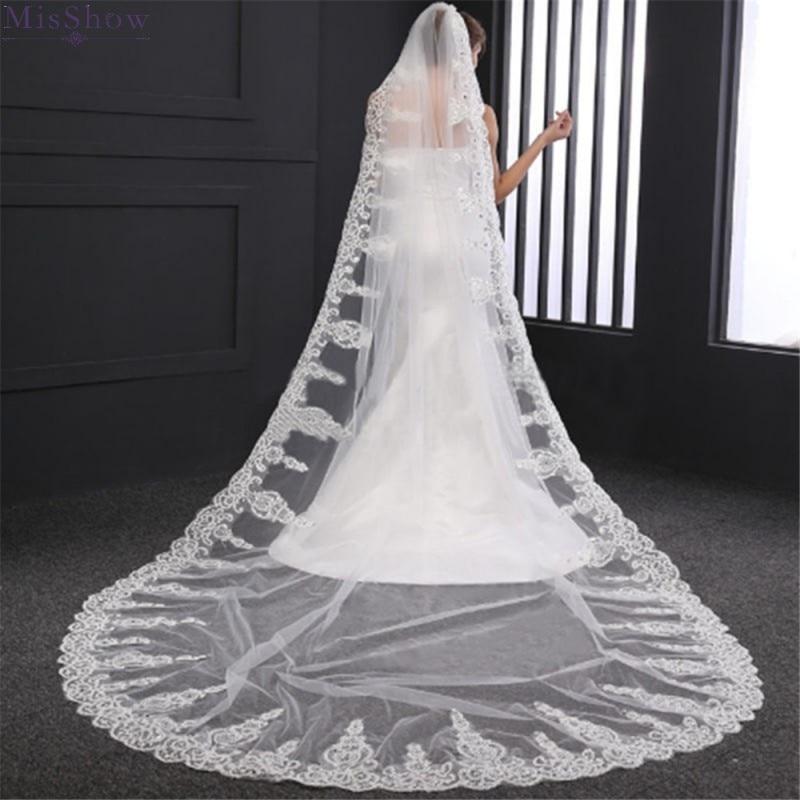 Une couche Tulle cathédrale mariage voile avec peigne dentelle bord strass 2020 mariée accessoires de mariée 3M de Long blanc ivoire