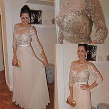 Шампанское шифон мать невесты платье 3/4 рукав кружева жемчуг