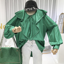 Green Vintage Women Blouses with Puff Sleeve Ruffled Solid  Long Shirts 2019 Fall Designer Clothing