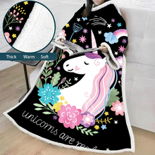 Unicorn Blanket With Sleeves Cartoon 3D Printed Plush Microfiber Sherpa Fleece Sofa Outdoor Coral TV Warm Manta