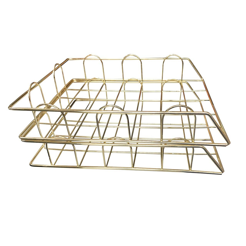 Office Supplies Metal Stackable File ID Tray Storage Box, Desk, Gold