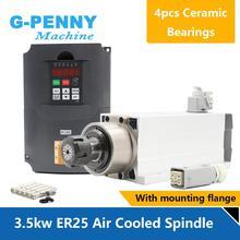 3.5kw ER25 hava soğutmalı mili kiti 300hz seramik bilyalı rulmanlar kare mili ER25 collet 4 adet rulmanlar 0.01mm doğruluk ve 4kw VFD