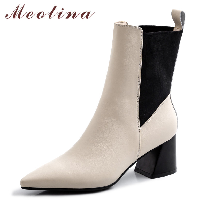 Meotina Winter Chelsea Boots Women Natural Genuine Leather Thick High Heel Ankle Boots Slip on Pointed Toe Shoes Lady Autumn 39
