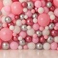 Фон для фотосъемки Девушка первый день рождения фон целая стена воздушных шаров розовый серебряный торт Smash баннер фотосессия портрет ребе...
