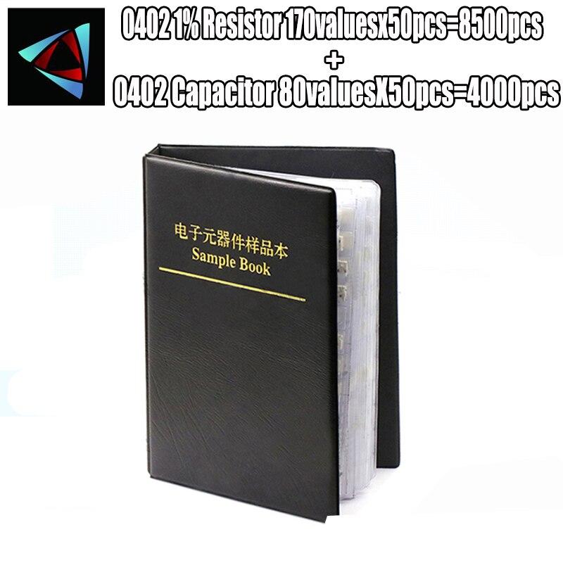 0402 SMD резистор 0R ~ 10 м 1% 170valuesx50шт = 8500 шт + конденсатор 80valuesx50шт = 4000 шт 0,5 пФ ~ 22 мкФ книга образцов