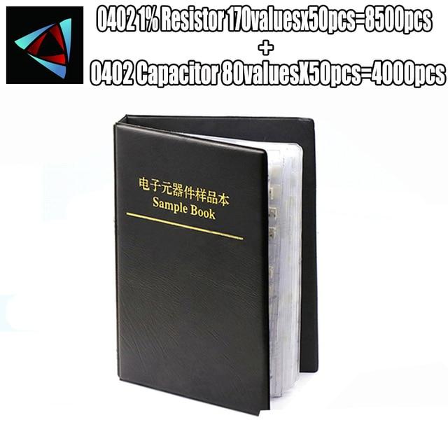 0402 SMD rezystor 0R ~ 10M 1% 170valuesx50pcs = 8500pcs + kondensator 80valuesX50pcs = 4000pcs 0.5PF ~ 22uF przykładowa książka