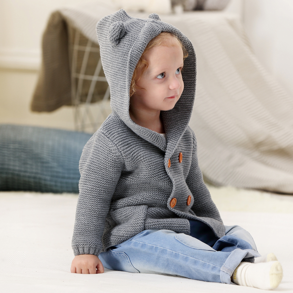 Image 2 - Baby Girl Sweater Winter Cartoon Bear Newborn Boys Cardigan Autumn Grey Toddler Knitted Jackets Long Sleeves Infant Knitwear Top-in Sweaters from Mother & Kids