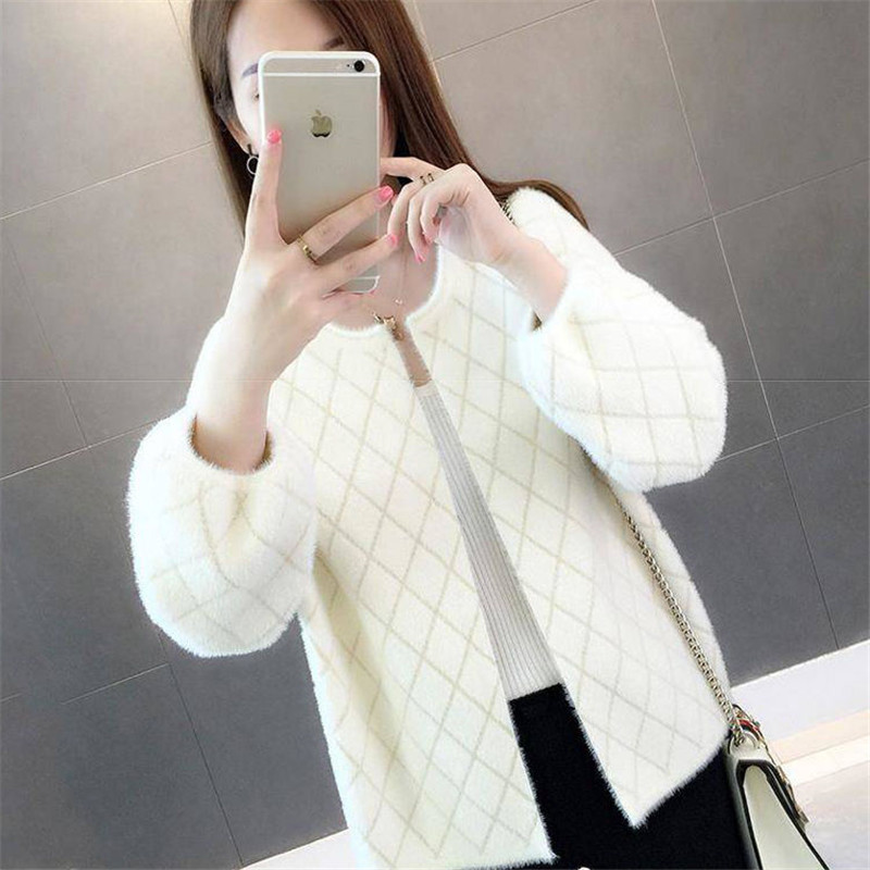 2019 Women's Sweater Imitation Mink Fur Short Coat Autumn And Winter New Loose Fashion Short Knit Cardigan Shirt