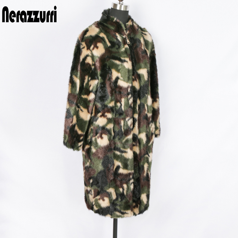 Nerazzurri Winter Faux Fur Coat Women Oversized Camouflage Jacket Military Plus Size Warm Loose Fluffy Jacket 5xl 6xl 7xl Zipper