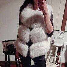 高模造フェイクファーベストコート黒冬の女性暖かい厚手のジャケットショートパターン固体フェイクファーベスト PC038