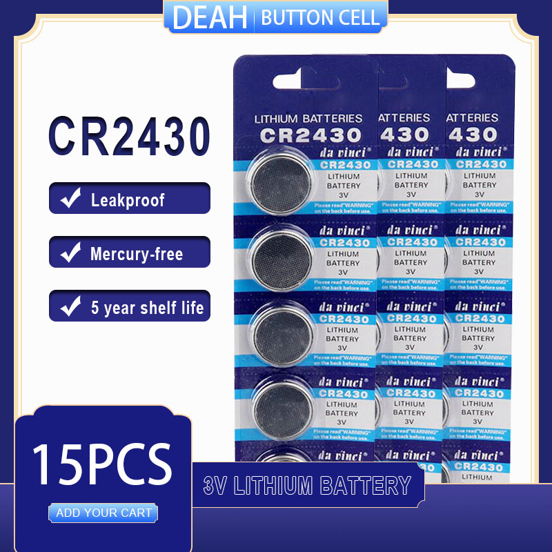 Литиевая батарея 15 шт./лот CR2430 3 в CR 2430 DL2430 BR2430 ECR2430 для часов, компьютера, калькулятора, пульта управления, игрушек, кнопочные батареи