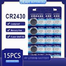 15 PÇS/LOTE CR2430 3V CR Bateria De Lítio 2430 DL2430 BR2430 ECR2430 para Assista Calculadora Computador de Controle Brinquedos Baterias Botão