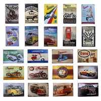 Vintage Retro Metal Tin sign Vespa Indian Motor VW Bus Musta Iron Poster ESSO Garage Gas Oil Bar Rustic Plaque Man Cave Pub Bar
