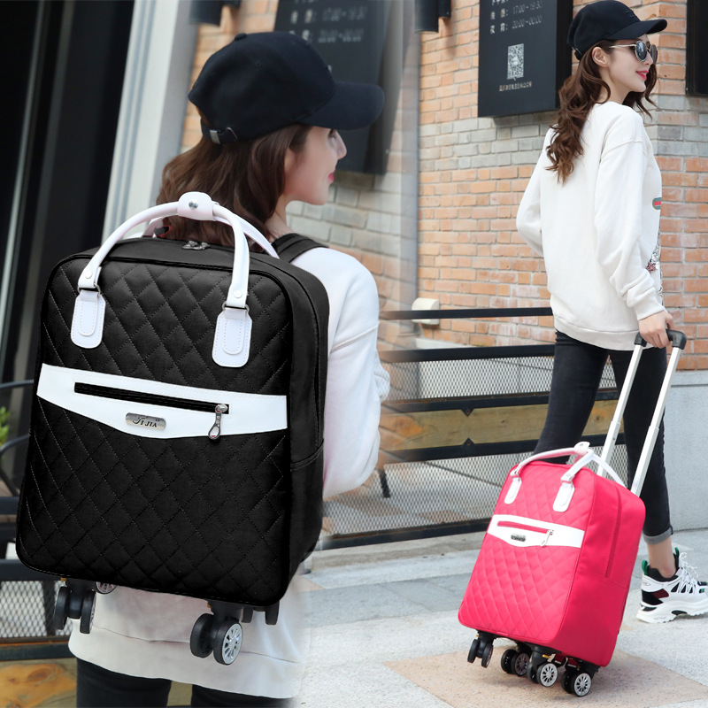 Wheeled Bag For Travel Women Travel Backpack With Wheels Trolley Bags Oxford Large Capacity Travel Rolling Luggage Suitcase Bag