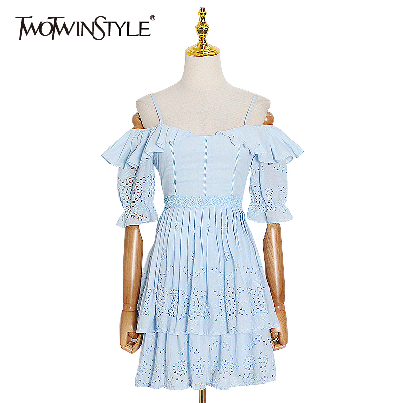 TWOTWINSTYLE casual Hollow Out Dresses Female Square Collar Flare Half Sleeve High Wiast Ruched Patchwork Ruffle Dress Women New