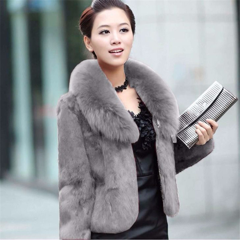 Faux Fur Coat Women Black 5XL Plus Size Short Jacket 2019 New Winter Fashion Mom Rabbit Fur Slim Green Fox Fur Collar Coat LD109