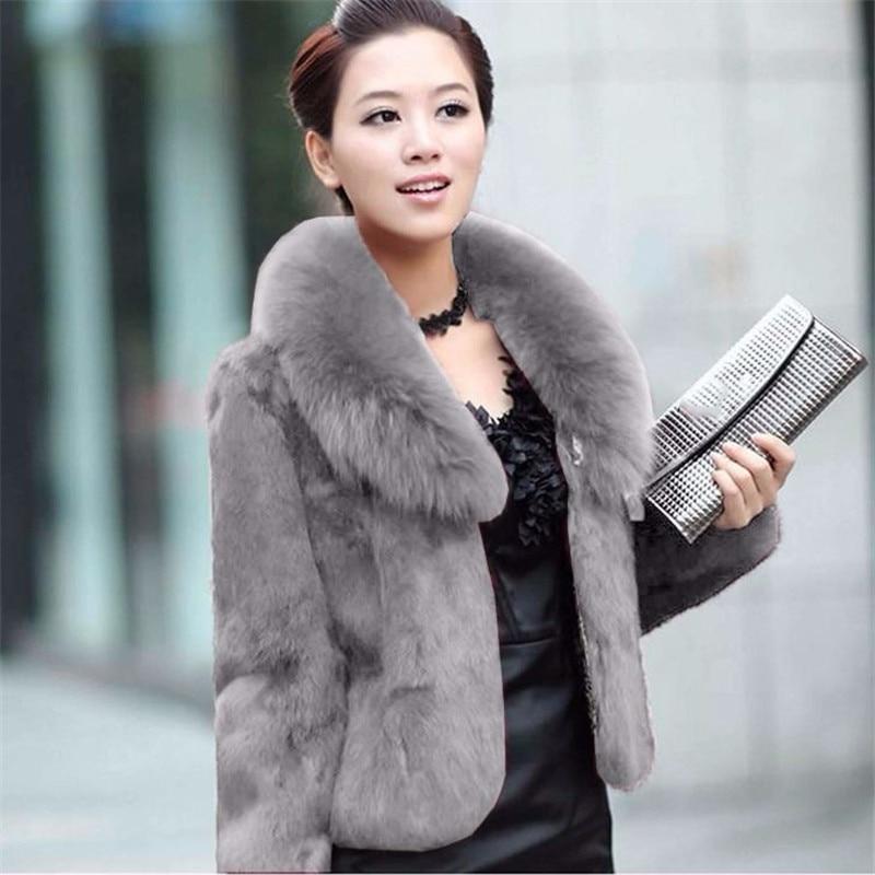Faux Fur Coat Women Black 5XL Plus Size Short Jacket 2019 New Winter Fashion Mom Rabbit Fur Slim Green Fox Fur Collar Coat LD109