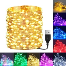 Garland-Lamp Led-String-Lights Wedding-Decoration Christmas-Tree Xmas Party Battery/usb