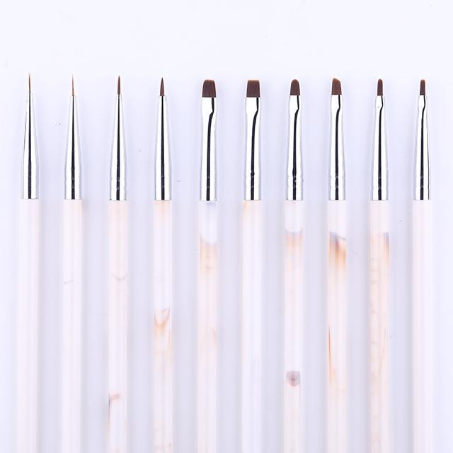 UV Gel Liner Drawing Painting Brush Mixed Sizes Acrylic Marble Handle Nail Art Pens Multi-function Nail Art DIY Design Tools