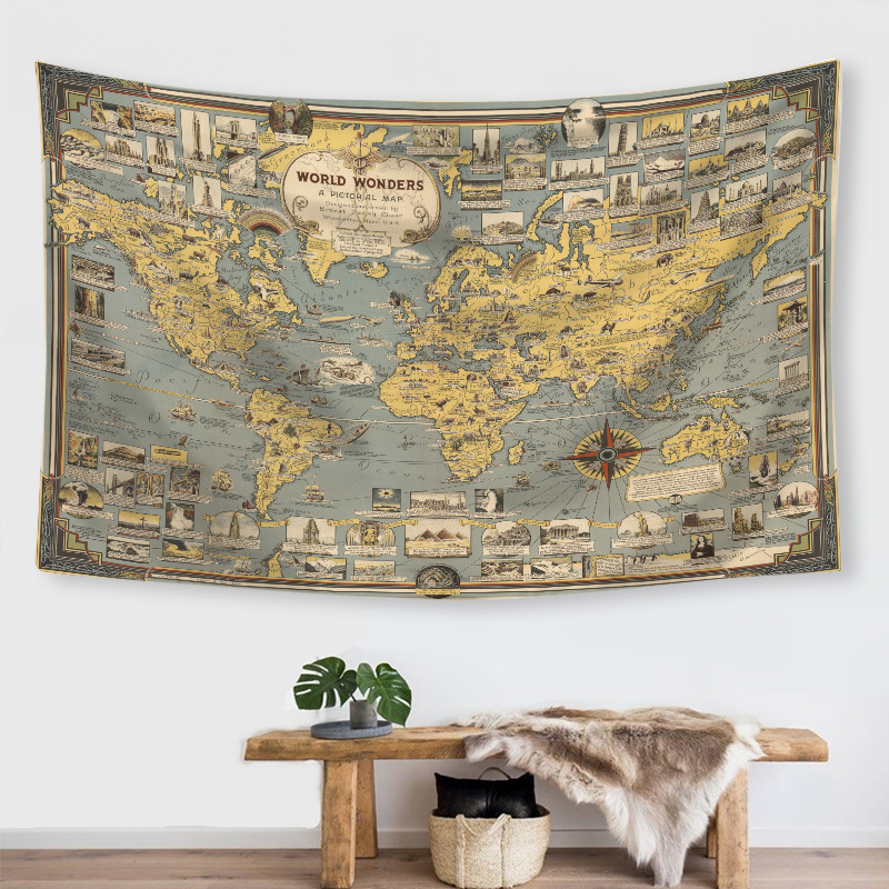 New Products Creative INS Wind Tapestry Digital Printing World Map Modeling Horizontal Wall Decoration.
