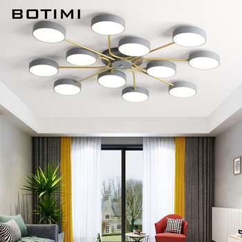 BOTIMI Modern LED Chandelier With Round Lampshade For Living Room Creative Acrylic Cover Bedroom Lights nordic modern designers fashion brief iron pendent lights for living room restaurants bedroom bar creative chandelier n1316
