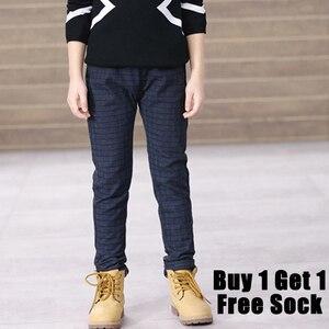 Image 5 - Calças para meninos calças casuais menino xadrez escola calças de cintura elástica crianças de comprimento total moda meninos grandes leggings