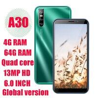 Teléfono Inteligente A30, versión Global, Android, 4G RAM, 64G ROM, Quad Core, desbloqueado, cámara HD de 13MP, pantalla grande de 6,0 pulgadas