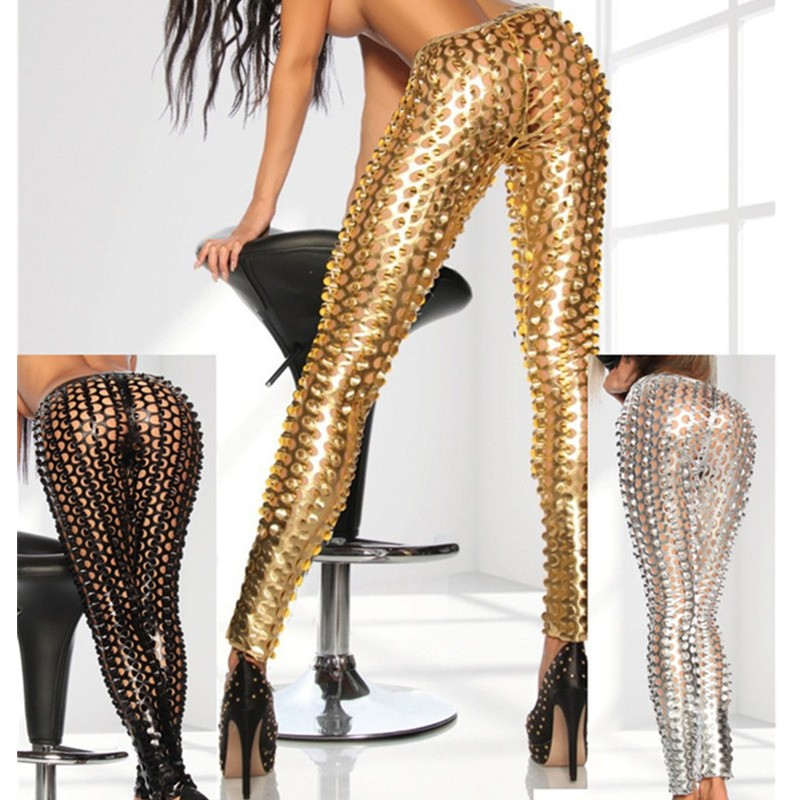 Black & Gold Sexy Panties Spandex Female Show Leggings Pants Hole Stretch Sex Couple Game Erotic Toys For Women Sexy Clothes