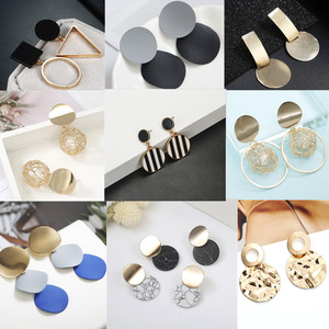 Korea Pearl Earrings 2019 For Women Round Geometric Statement Vintage Gold Color Stud Earrings Fashion Jewelry Earring
